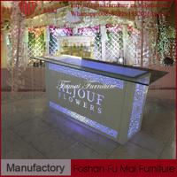 Rectangle led light reception desks tempered glass intelligent designs office furniture