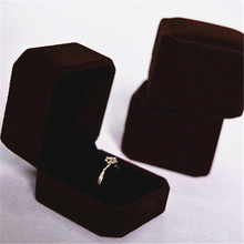 Brown color velvet box jewelry ring box for valentine's day gift