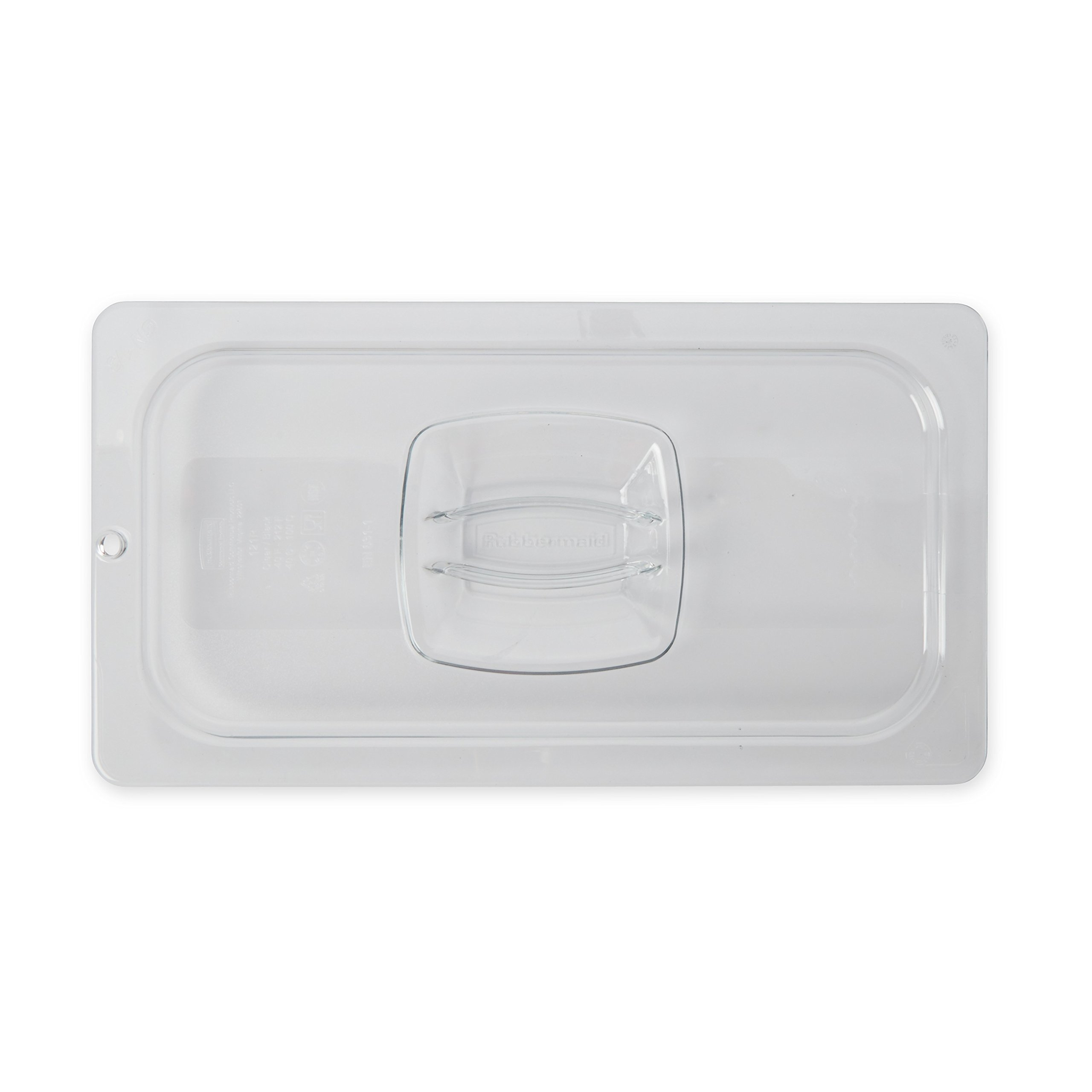Rubbermaid Commercial 1/3 Size Cold Food Pan Cover with Peg Hole, Clear, FG121P23CLR