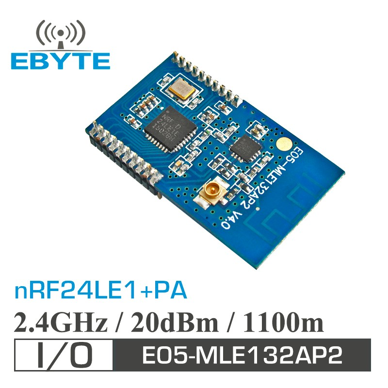 E05-MLE132AP2 SPI 100mW 1.1km nRF24LE1 PA LNA 2.4ghz wireless audio transmitter module