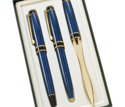 Aeropen International GS-3004 3 Pcs. Set Blue Marble BP Pen RB Pen and Letter Opener with Gift Box