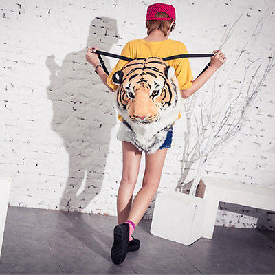 2014 new Cool Luxury Tiger Head Lion White Tiger Head style Bag Knapsack Backpack