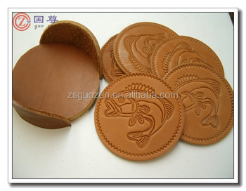 fashion genuine leather drink coasters beer tea coaster with embossed logo disposable drink coasters faux - Drink Coasters