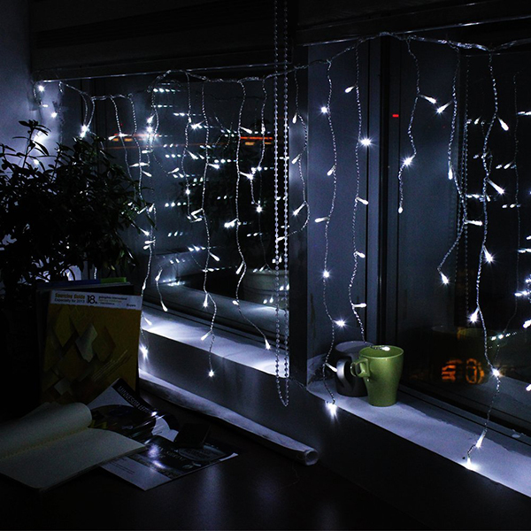 icicle christmas lights wedding party 300 led window curtain icicle lights string fairy light - White Icicle Christmas Lights