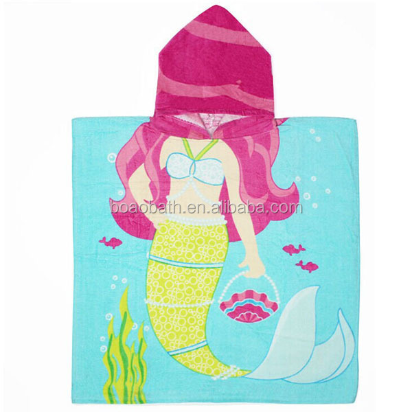 120*60cm Beauty Fish Hooded Woven Terry Baby Towel