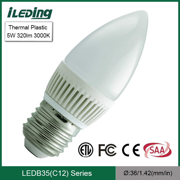 Standard or dimmable for indoor Candle LED Light 5W