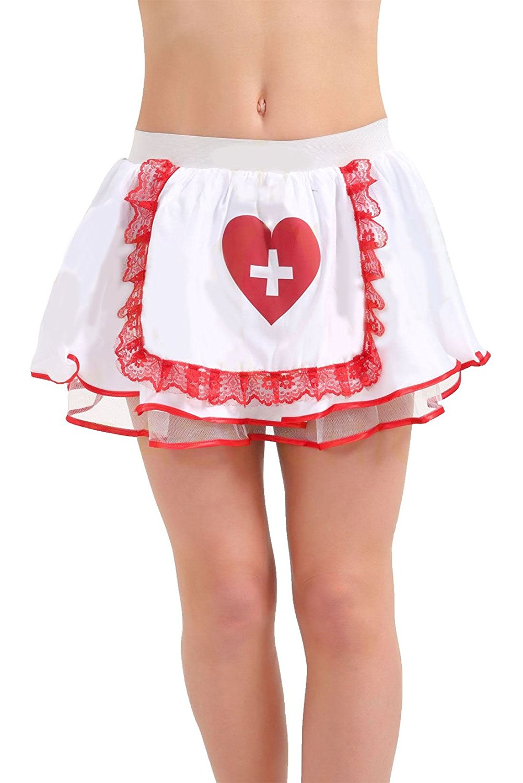 Rimi Hanger Womens Sexy Nurse Tutu Skirt Ladies Fancy Red Cross Apron Heart Mini Skirt One Size
