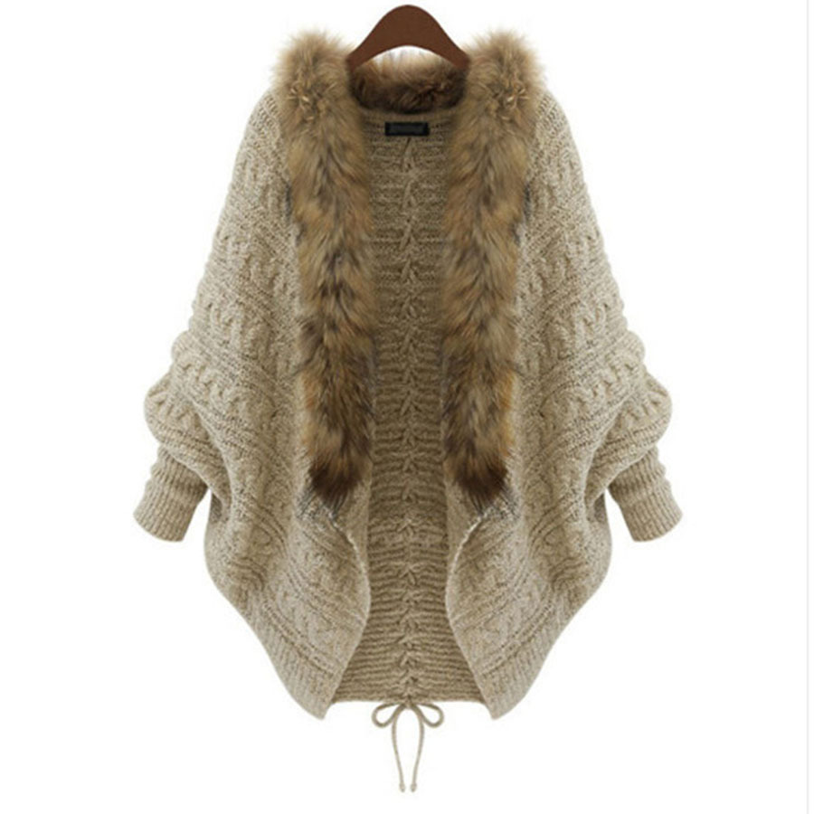 Get Quotations · Women Sweater Cardigan Female Sweaters Womens Fur Collar  Batwing Long Casual Knitting Pull Femme Women s Clothing 13b9a0228