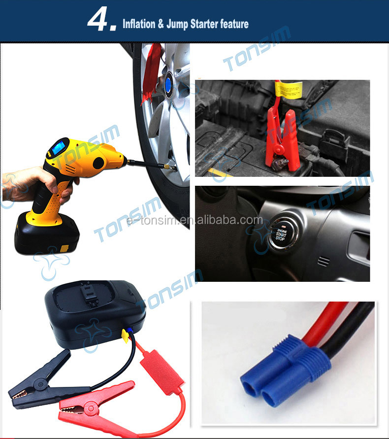 Intelligent Air pump rechargeable battery Tire inflator Portable Cordless 12v/18v mini air compressor 220v