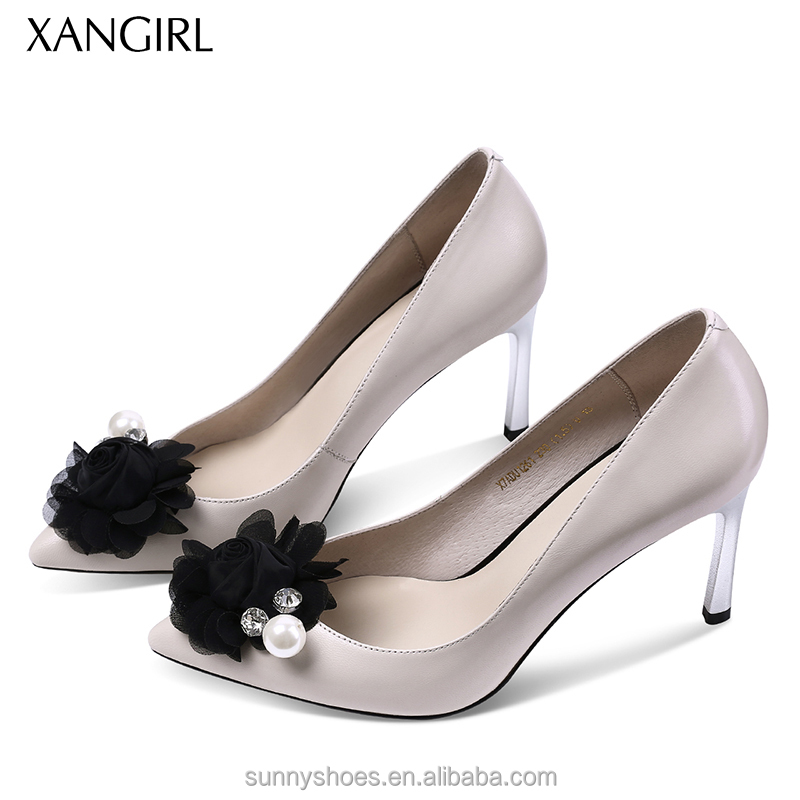 ornament leather Women with shoes genuine flower formal 5YY0nxfUwq