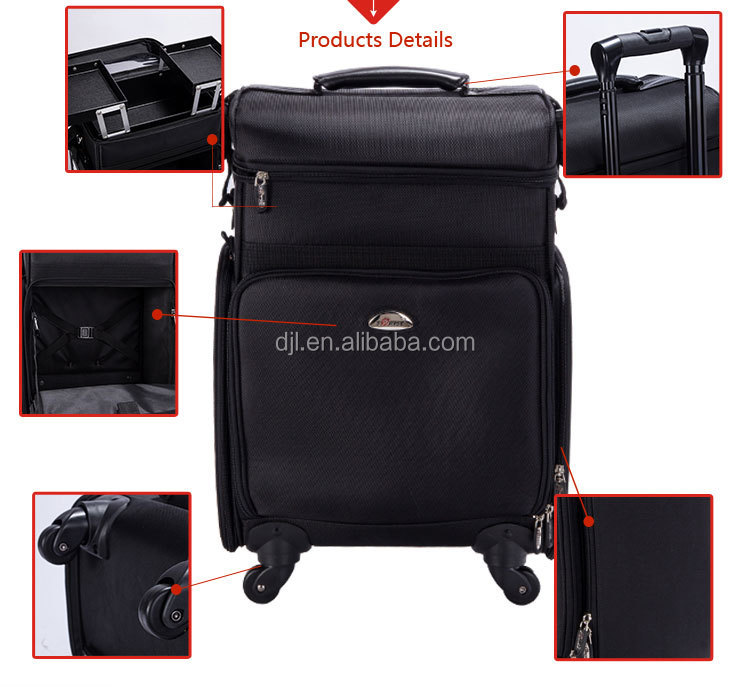 Guangzhou Manufacturer Soft Nylon Storage Trolley Cosmetic Case ...