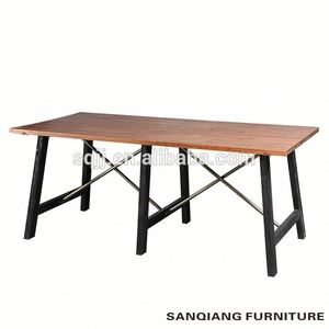 hot dining Room Furniture SANQIANG hot industrial retro table solid wood top European table rectangular table