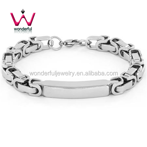 Crucible High-Polish Stainless Steel Byzantine ID Bracelet