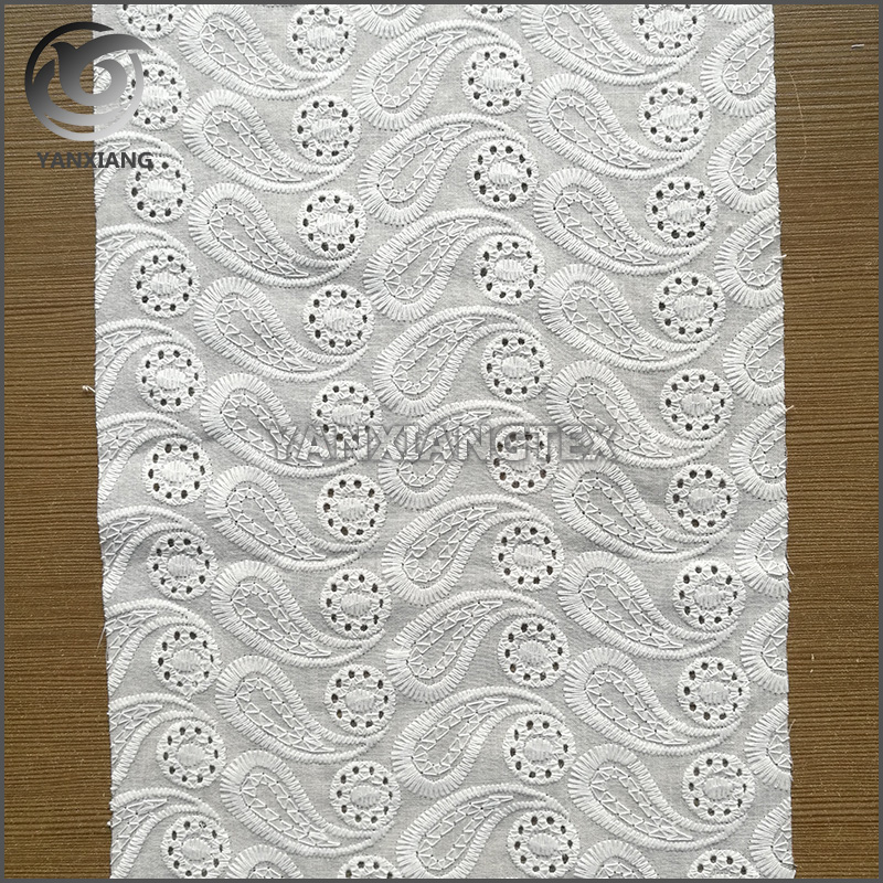 New design cheap white 100% cotton embroidered fabric