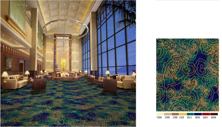 Luxury Commerical Used Lobby Hall Carpet, Guangzhou Stocklot Lobby Hall Used Wilton Carpet