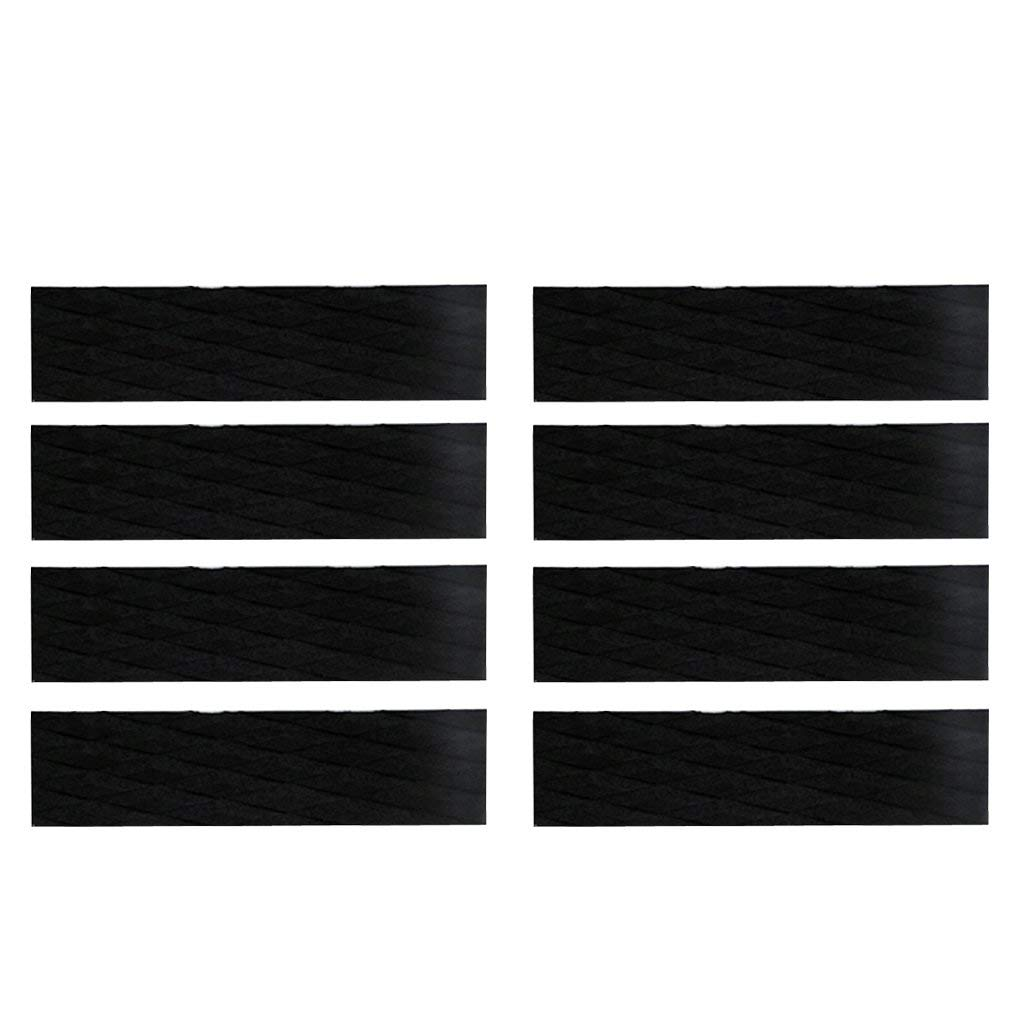 MonkeyJack 8 Pieces Skimboard Traction Pad Bar Grips Black Diamond Grooved EVA Surfboard Paddle Shortboard SUP Surf Accessories