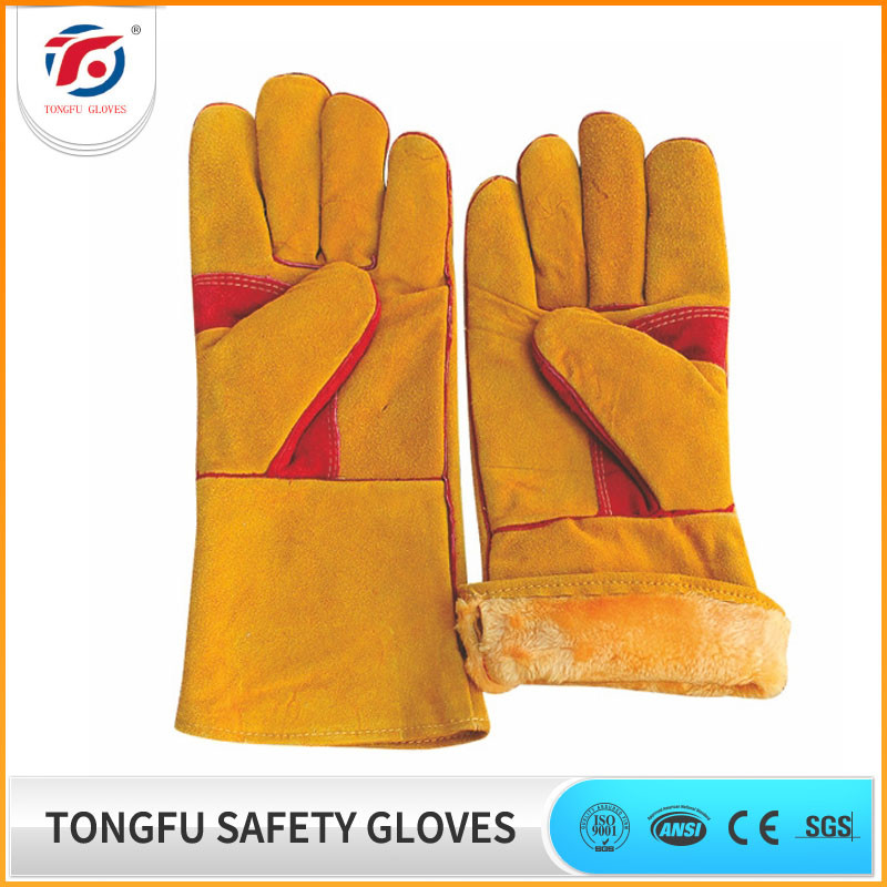China Factory Long Winter Leather Welding work Gloves for Men