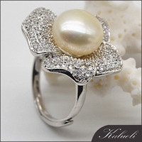 925 silver zircon adjustable size natural pearl ring unique jewelry