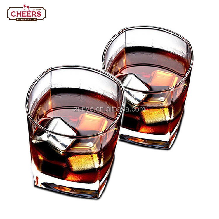 Stainless Steel Whiskey Stones, Chilling Rocks Reusable metal Ice Cubes for Cooling Wine Drinks Beverage, Pack of 4