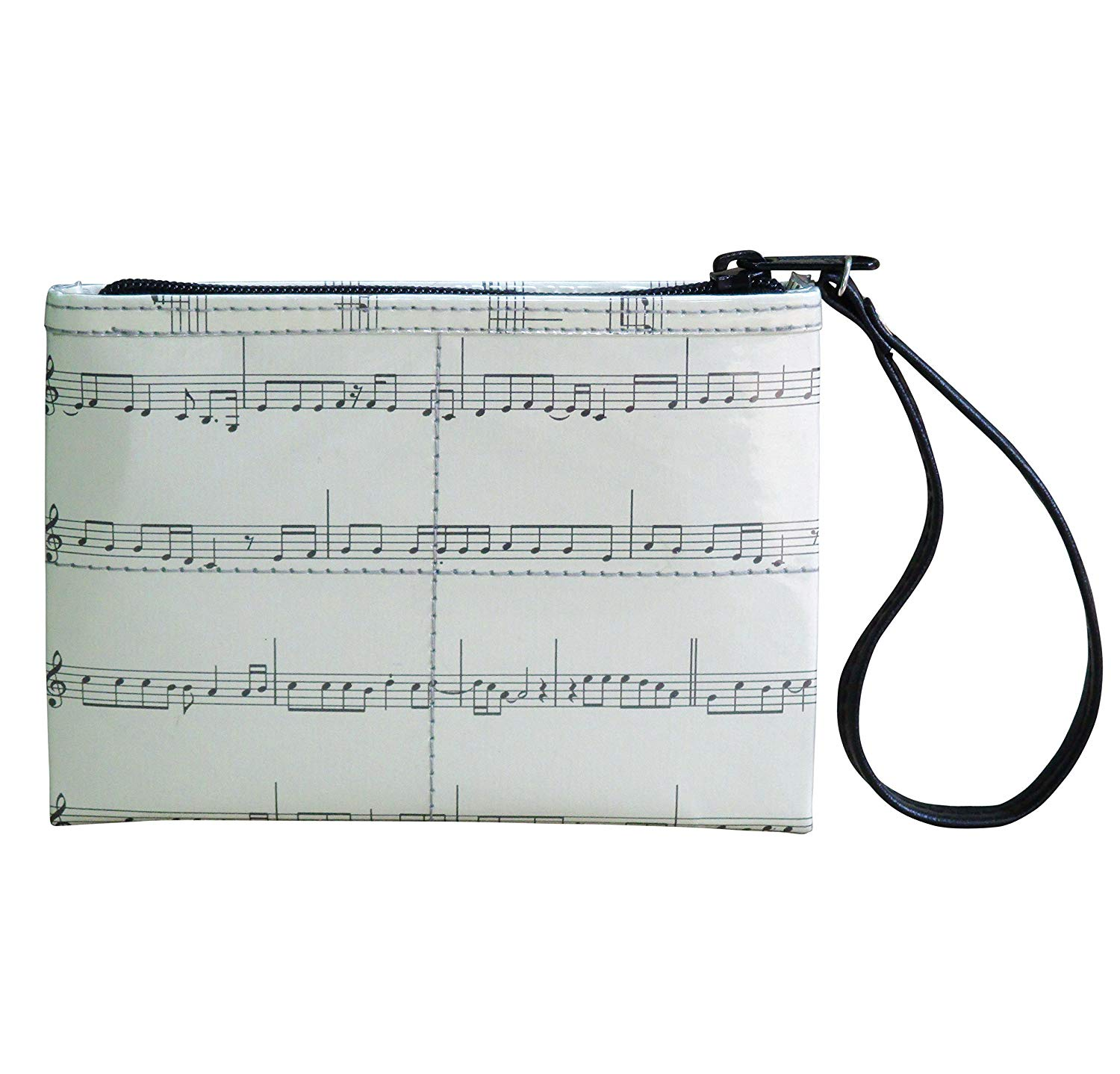 Small wristlet using musical note sheet - FREE SHIPPING, upcycled eco friendly vegan style recycled made from reclaimed repurposed materials handmade bag gift gifts pouch makeup case music scores