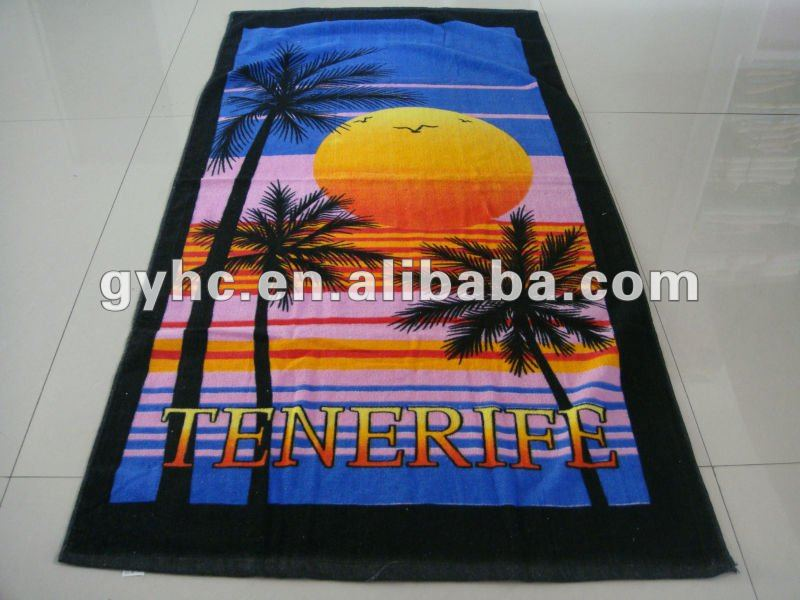 reactive printing beach towel terry