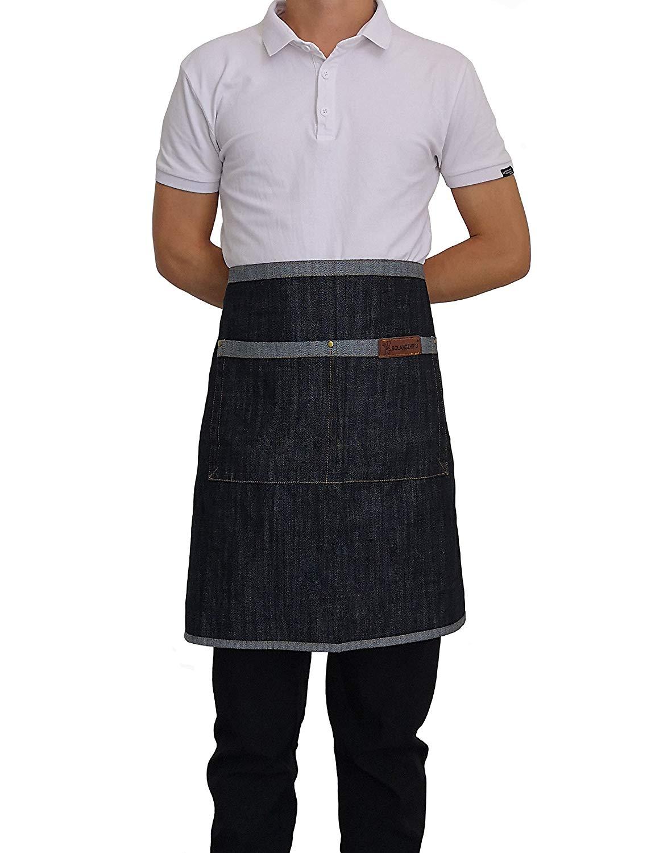 Denim Waist Apron with Pockets Adjustable Cooking Chef Jean Waist Half Short Apron for Men Women Chef Baker Servers Waitress Waiter Craftsmen (Black)