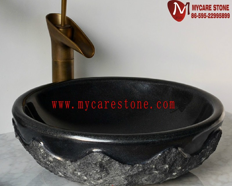 Bathroom Round sink in stone black granite