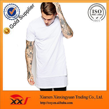 alibaba hot sale men apparel custom your own longline t-shirt wholesale white plain t-shirts double layer tall tee
