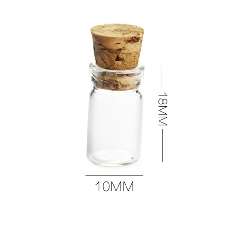 10x18mm mini 0.5 ml tubular glass vial with cork stoppers