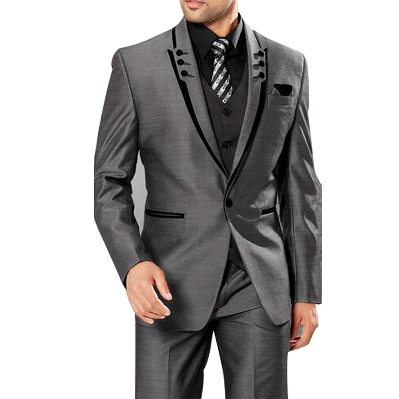 HBDesign Mens 3 Piece 1 Button Peak Lapel With 6 Button Suits ( Jacket Vest Pants )