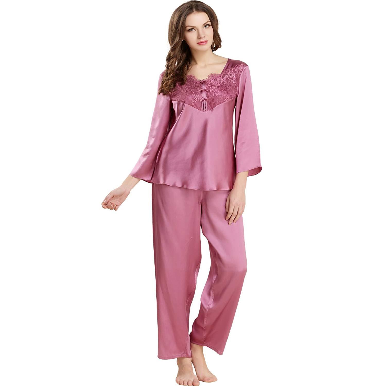 41c6c9283f Get Quotations · LoveSilk Women s Pure Silk Pajamas Sleepwear Luxury PJS  Gift