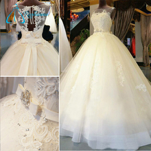 Lace Appliques Sashes Crystal Bow Beach Wedding Dress Ball Gown