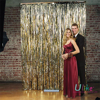 Gold Metallic Foil Curtains For Party Wedding And Customize Curtain