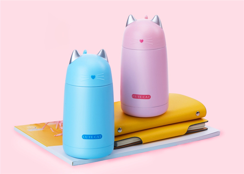 Leuke Kat Thermos Cup Kids Thermo Mok Drinkware Kind 330 Ml Water Fles Roestvrijstalen Thermoskan Draagbare Lek-proof Tumbler