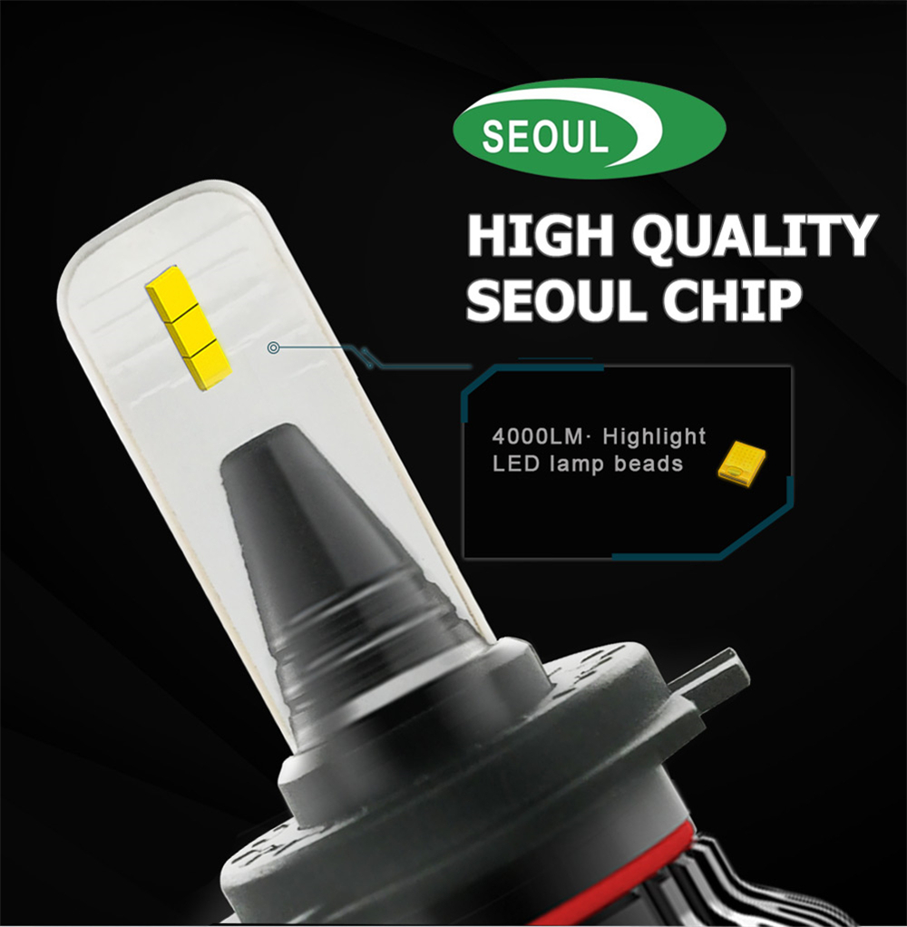 Smllest size auto motorcycle led headlight h7 h11 9003 hb5 40W 8000LM Seoul CSP 6000k h4 led headlight
