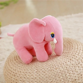 Cute Plush Colorful Elephant Soft Stuffed Wild Animal Toy With Big