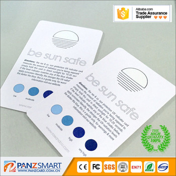 Ultraviolet radiation temperature test card
