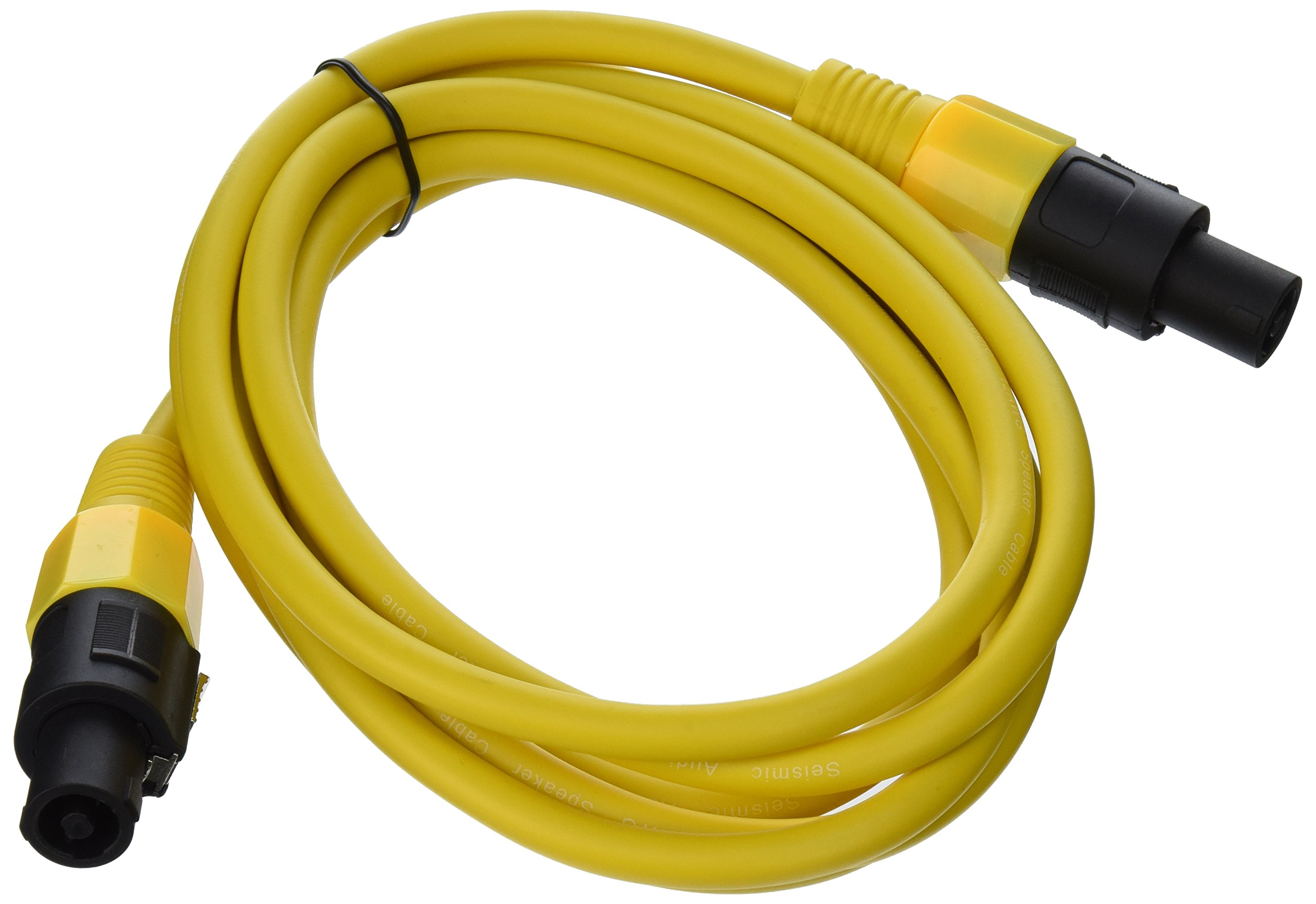 Seismic Audio - TW12S10Yellow - 12 Gauge 10 Foot Yellow Speakon to Speakon Professional Speaker Cable - 12AWG 2 Conductor Speaker Cable