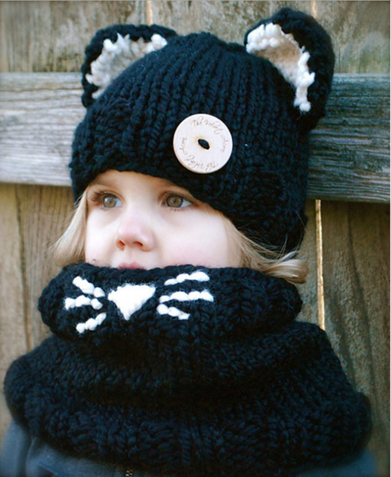 2017 New-design Winter Cat Baby Hat with Scarf Croche Baby