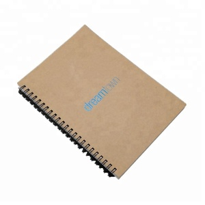 Fashion customized blue gold stamping logo recycled paper A3/A4/A5 spiral school notebooks