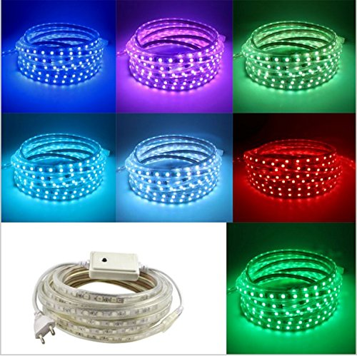 Waterproof AC 110-120V Flexible RGB LED Strip Lights, 60 LEDs/M, Multi Color Changing 5050 SMD LED Rope Light + Controller for Decoration Party Home (5m/16.4ft RGB)