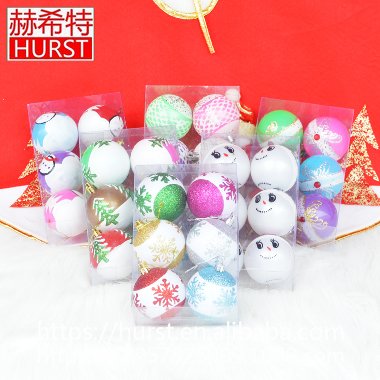 Fashion cheap hand painted plastic christmas ornament ball