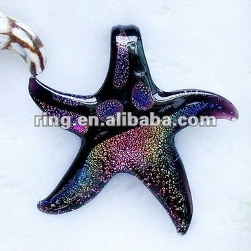 Fashion Dichroic Foil Murano Lampwork Glass Starfish Pendant