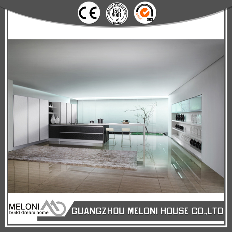 Apartment use with basket and yellow quartz stone fireproof pvc kitchen cabinet