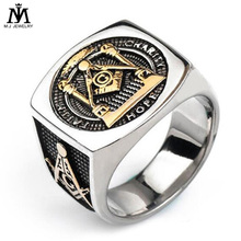 Punk Gold Silver Tone Titanium Stainless Steel Masonic Rings Freemason Ring for Men Jewelry