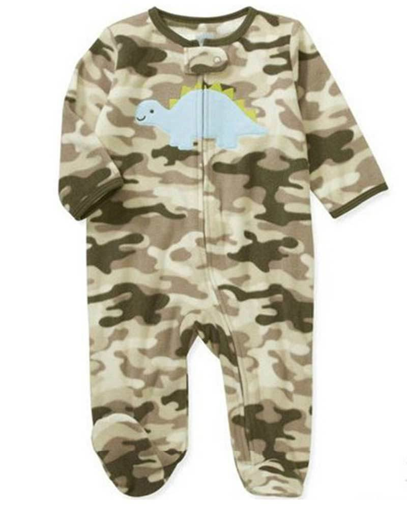 Get Quotations · Baby Boys Clothes Camouflage Fleece Dinosaur Zip Up Footies  Pajamas Rompers Playsuit Size 3-6M 1e1a6ae25