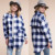 Checker Woven Flannel Shirt Jacket Latest Women Blazer Design Long Line Windbreaker Jacket With Button Down And Pocket