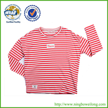 Custom cheap fashion striped screen printing long sleeve t shirt