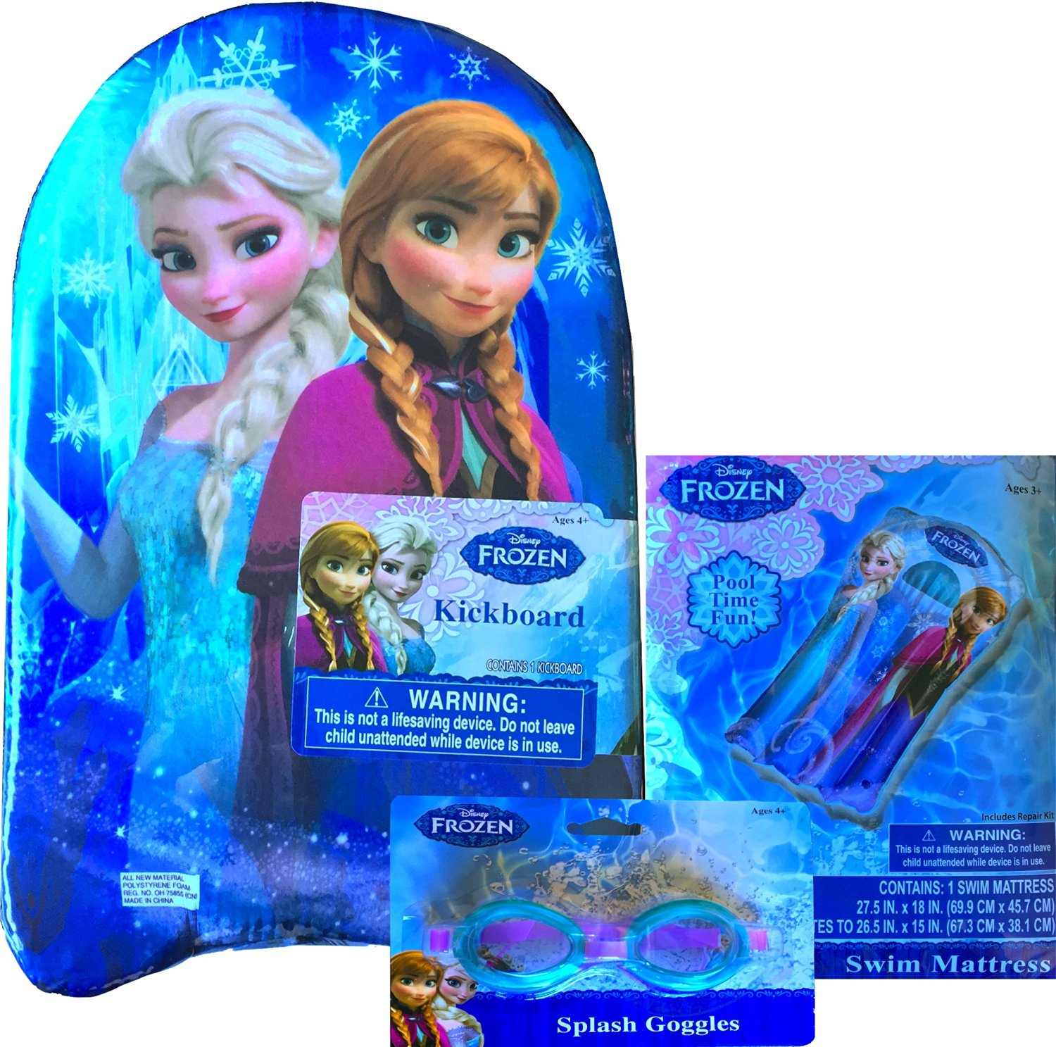 Disney Frozen Beach Gift Set Includes Disney Frozen Kick-board Polystyrene Foam ,Disney Frozen Splash Goggles , Disney Frozen Swim Mattress