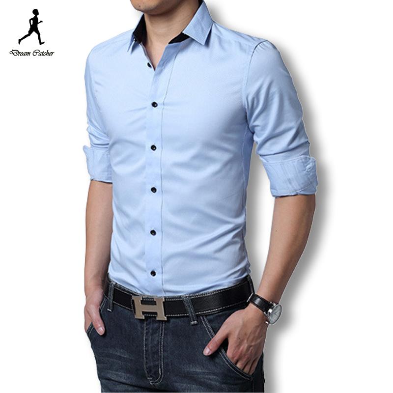 3a3617cc308 Get Quotations · 2015 Mens Dress Shirts Long Sleeve Men Dress Shirt Slim Fit  Chemise Homme Black Dress Shirt